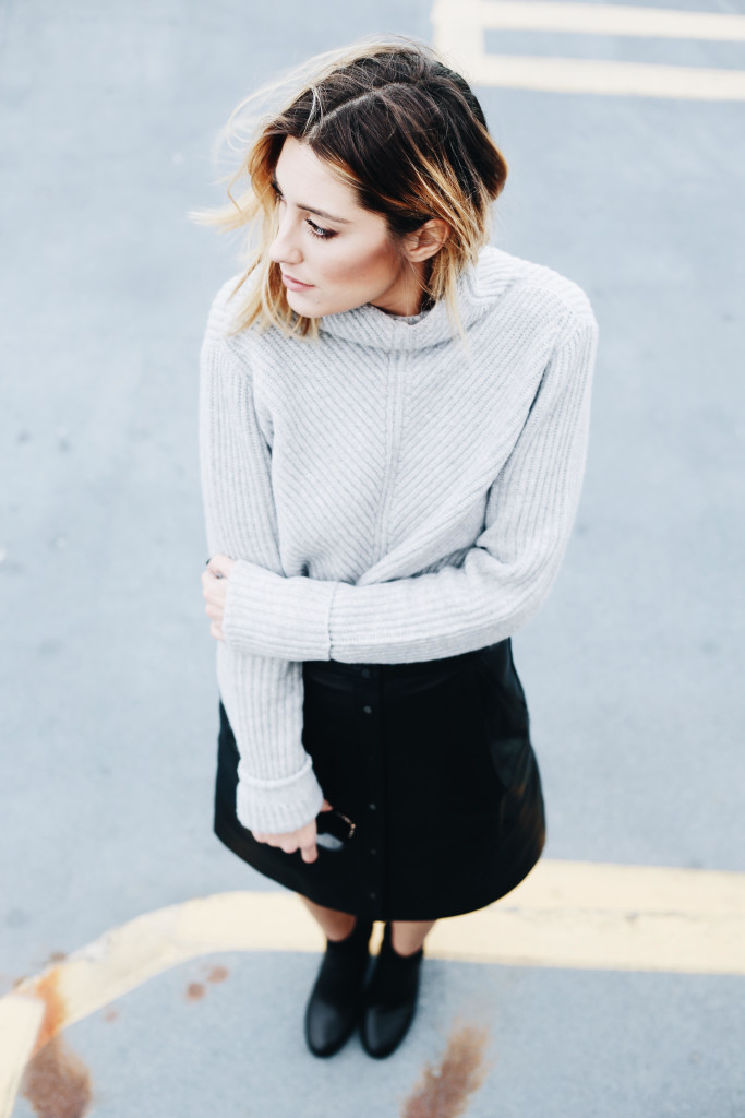 Cashmere Sweaters + Leather Skirts